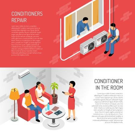 Set of two horizontal air conditioners service banners with editable text and colourful compositions of images vector illustration