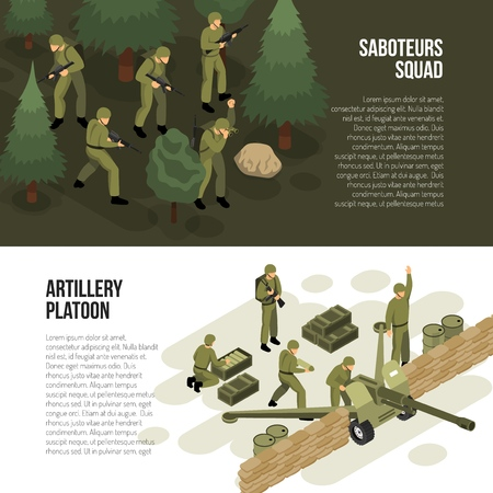 Military vehicles banners set with compositions of isometric images with soldiers tactical activities and editable text vector illustration
