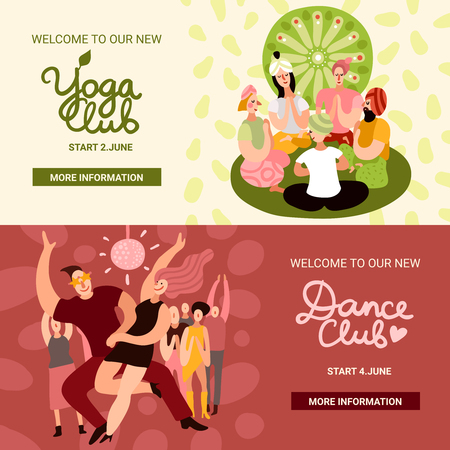 Club party horizontal banners set with dance and yoga club symbols flat isolated vector illustration