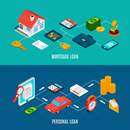 Set of two horizontal loans isometric banners with icons of private property documents and money coins vector illustration