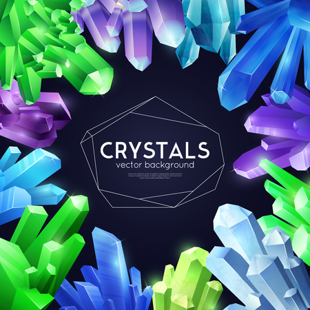 Vibrant violet bright green blue crystals   composition against black background decorative square frame poster cover vector illustration