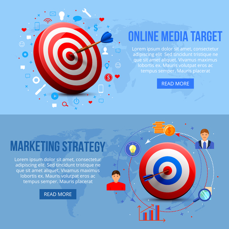 Horizontal banners with realistic aims for online media targeting and marketing strategy, blue background isolated vector illustration