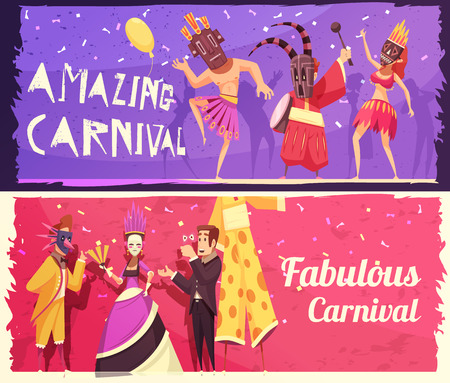 Colorful set of two horizontal cartoon banners with people wearing costumes at carnival party isolated vector illustration Banque d'images - 104209417