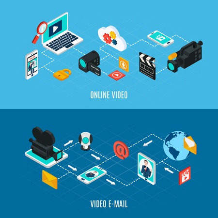 Photo video isometric horizontal banners set with flowchart compositions of isolated professional video equipment and gadgets vector illustration