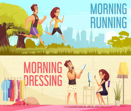 Cartoon horizontal banners set with young couple running and dressing together in morning isolated vector illustration