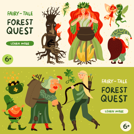 Forest fairy tale characters horizontal banners set with forest quest symbols flat isolated vector illustration Foto de archivo - 104209422