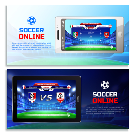 Soccer online broadcast horizontal banners with tournament tables on mobile device screens isolated vector illustration Illustration