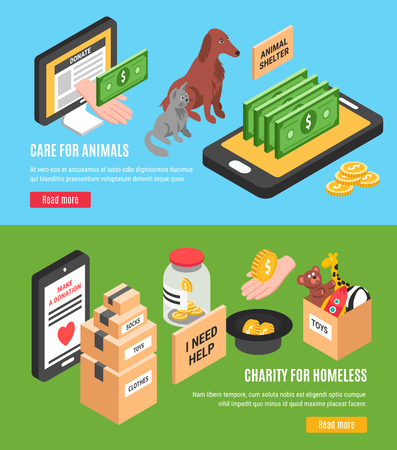 Charity two horizontal banners set of care for animals and charity for homeless isometric concepts vector illustration Illustration