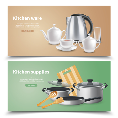 Realistic kitchen ware and culinary supplies horizontal banners on beige and green background isolated vector illustration