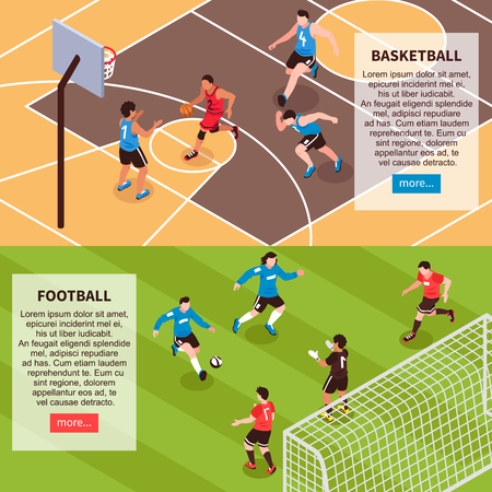 Basketball court and football field 2 horizontal isometric web site banners with sports descriptions isolated vector illustration