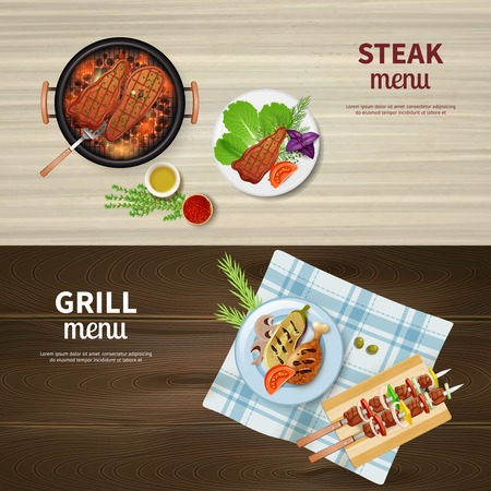 Realistic set of horizontal banners with bbq grilled kebab steak and vegetables isolated vector illustration