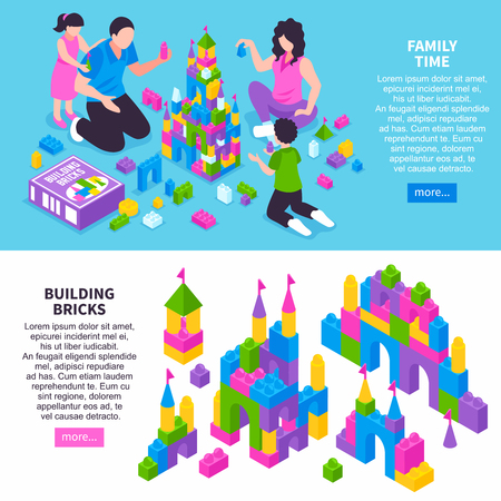 Toy constructor isometric horizontal web page banners with family building castle from colorful plastic bricks vector illustration