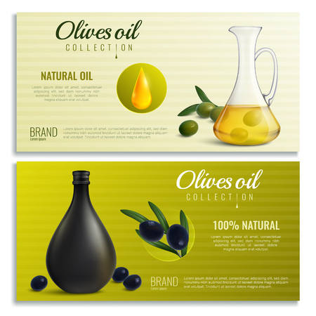 Realistic oil from olives in jug and bottle horizontal banners on textured background isolated vector illustration Illustration