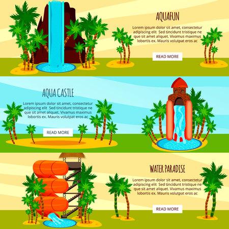 Set of flat horizontal banners entertaining water slides of aqua park isolated on colorful background vector illustration Illustration