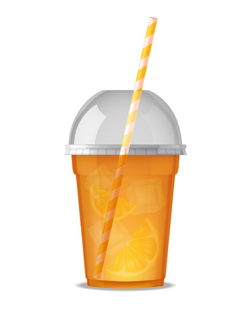 Transparent plastic glass for drink juice or smoothie with pipe and cover isolated vector illustration Illustration