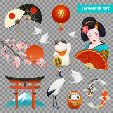 Japanese national symbols realistic set with cherry blossom geisha crane gate fuji mount transparent background vector illustration