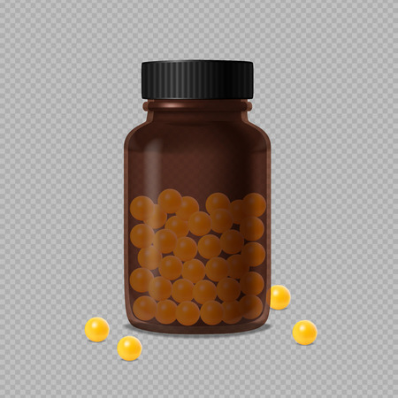 Closed medical brown glass bottle and scattered yellow vitamin dragee on transparent background realistic vector illustration