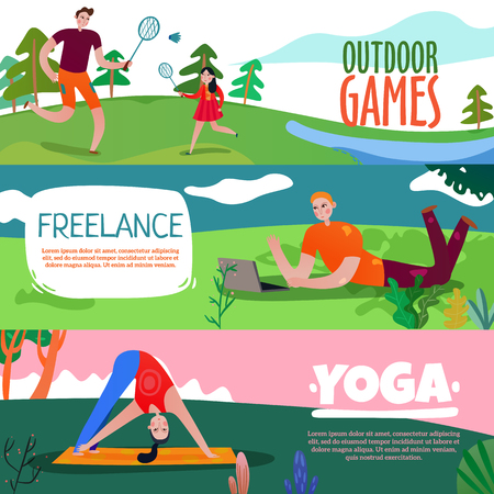 Park rest horizontal banners set with yoga symbols flat isolated vector illustration