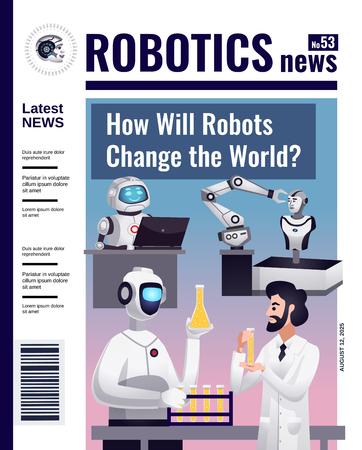 Design piatto di copertina di una rivista di notizie di robotica con automazione controllata e tecnologia di intelligenza artificiale che cambia l'illustrazione di vettore del mondo