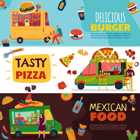 Food trucks horizontal banners set with burger and pizza symbols flat isolated vector illustration
