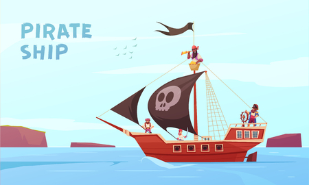 Pirate outdoor composition with cartoon style images of picaroon sea ship at sea with editable text vector illustration