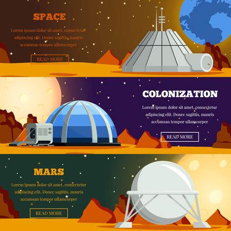 Satz flacher horizontaler Banner mit Planetenkolonisation Terraforming von Mars und Weltraumforschung isolierte Vektorillustration