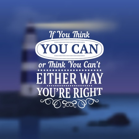 Quotes realistic set with motivating words sea and lighthouse vector illustration