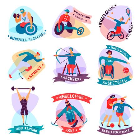 Las personas discapacitadas aisladas y planas se divierten el emblema con ejercicios con mancuernas, carreras en silla de ruedas, tenis, esquí, baloncesto y otras descripciones, ilustración vectorial Ilustración de vector
