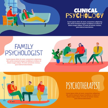 Psychotherapist and psychologist horizontal banners set with family consultation symbols flat isolated vector illustration Illustration
