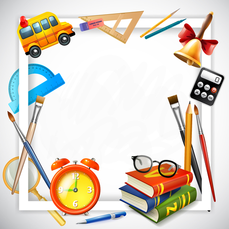 School realistic design concept with frame composed of alarm clock school bus and school supplies vector illustration Illustration