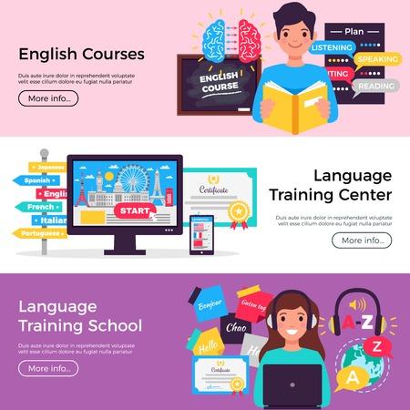 Insegne pubblicitarie piatte orizzontali della scuola di lingue online 3 con l'illustrazione di vettore isolata informazioni del centro di formazione di corsi di inglese Vettoriali