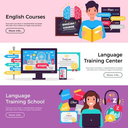 Online language school 3 horizontal flat advertising banners with english courses training center info isolated vector illustration Иллюстрация