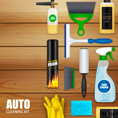 Auto cleaning realistic set with liquid soap foam spray car wash brush wood planks background vector illustration