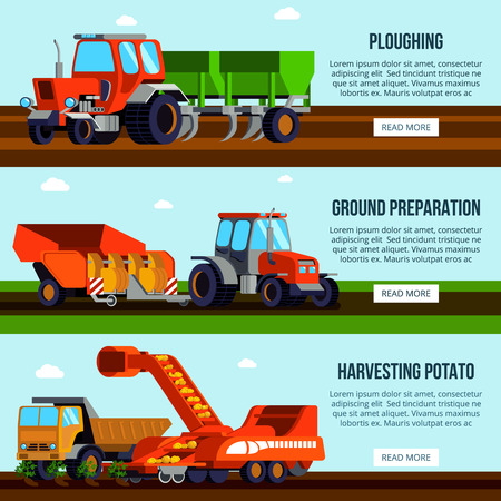 Potato cultivation flat horizontal banners with agricultural machinery for ploughing ground preparation and harvesting isolated vector illustration Ilustração