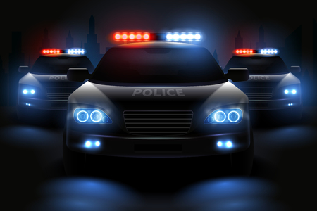 Car led lights realistic composition with images of police patrol wagons with dimmed headlights and light bars vector illustration Illustration