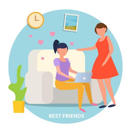 Cartel de fondo ortogonal de amistad de chicas con 2 señoritas en casa compartiendo ilustración de vector de experiencia en línea de citas románticas