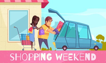 Shopaholic composition with text and cartoon style images of couple putting colourful goods boxes into car vector illustration