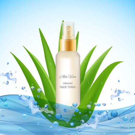 Aloe vera background with water waves drops realistic leaves of plant and organic face tonic package vector illustration 일러스트