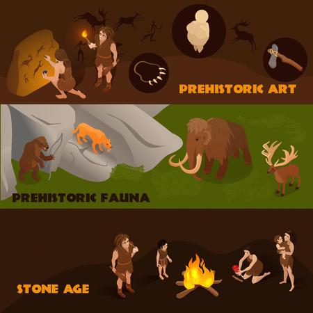 Banners isométricos horizontales con gente primitiva de la fauna prehistórica y su arte 3d aislado ilustración vectorial