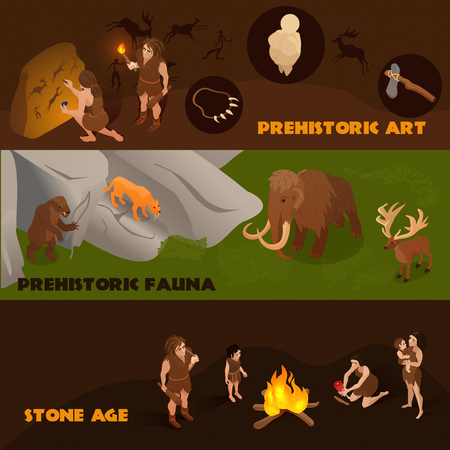 Horizontal isometric banners set with prehistoric fauna primitive people and their art 3d isolated vector illustration Illustration