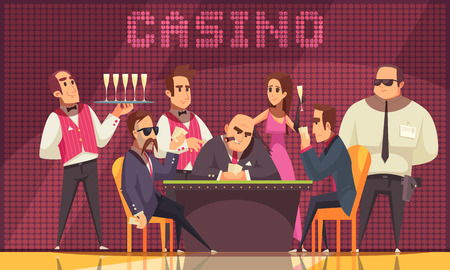 Casino indoor background composition with view of gaming room with human characters of gamers waiter banker vector illustration