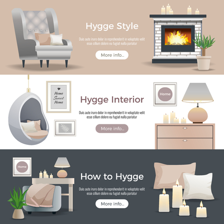 Scandinavian hygge style interior design 3 horizontal website banners with fireplace reading nooks candles pillows vector illustration