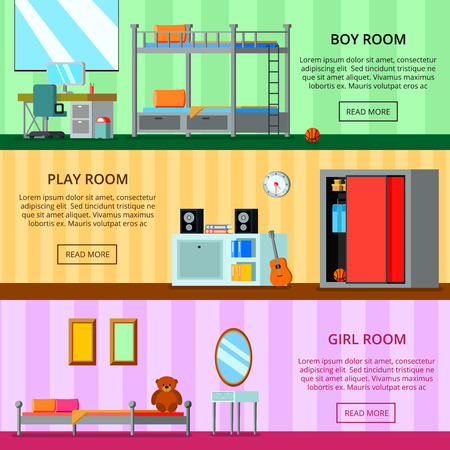 Teen room for girl and for boy playing space set of flat horizontal banners isolated vector illustration