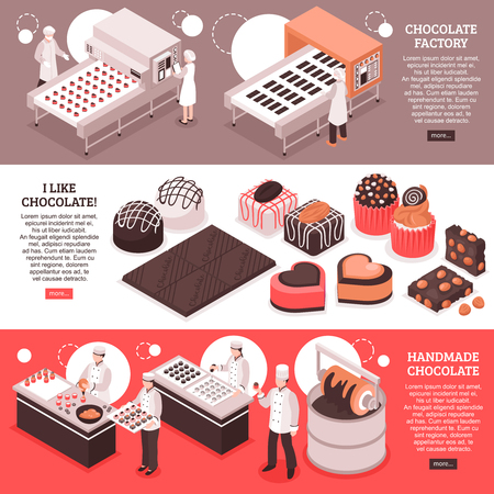 Chocolate manufacture isometric banners with automated factory conveyor lines people at workplace and handmade sweet production vector illustration