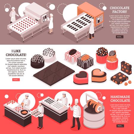 Bannières isométriques de fabrication de chocolat avec des lignes de convoyeur d'usine automatisées personnes sur le lieu de travail et illustration vectorielle de production sucrée à la main