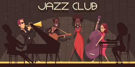 Jazz horizontal background composition with flat cartoon style characters of musicians with shadows silhouettes on stage vector illustration