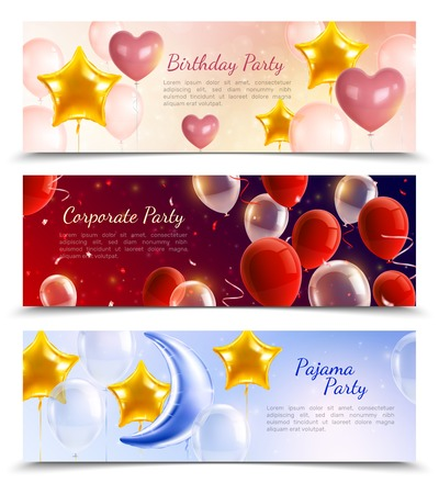 birthday corporate and pajama party three horizontal banners decorated by hot air balloons in shape of balls hearts and stars realistic vector illustration