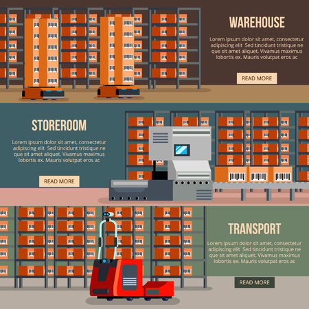 Warehouse robots set of horizontal flat banners automatic devices for cargo sorting and transportation isolated vector illustration