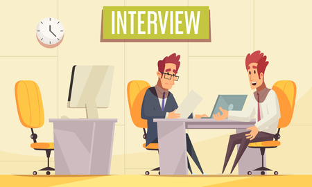 Resume recruiting background with indoor office interior with pieces of workplace furniture and communicating human characters vector illustration Illustration
