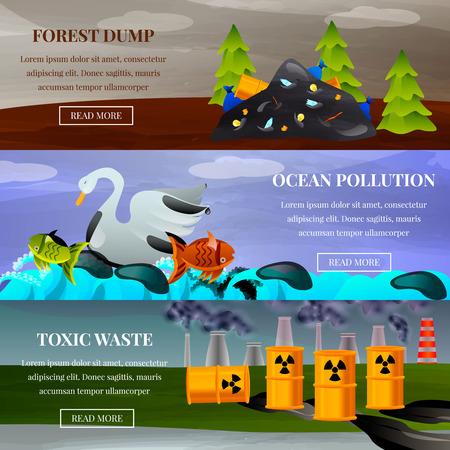 Ecological problems forest dump ocean pollution and toxic waste set of flat horizontal banners isolated vector illustration Banque d'images - 106210981